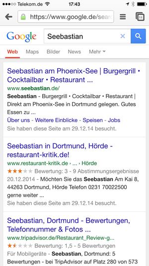 Restaurant Seebastian bei Google