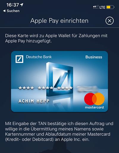 Deutsche Bank und Apple Pay