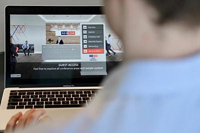 Die Lobby der NEXCON auf einem MacBook Pro