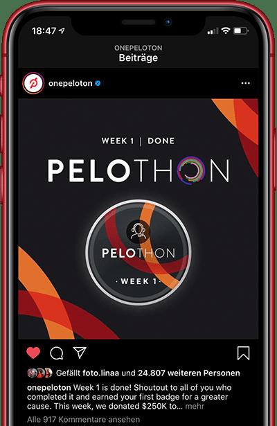Pelothon Post von Peloton auf Instagram
